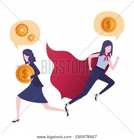 Businesswomen With Hero Cape And Speech Bubble Vector Illustration Design