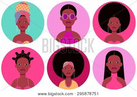 Set Of Six Young Black Women Round Flat Icons In Different Clothes And Hairstyles. Six Circle Vector