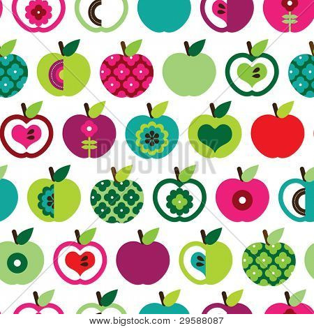 Seamless cute bright colorful retro apple pattern in vector