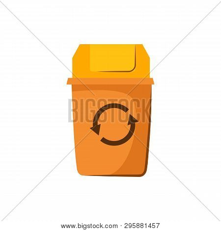 Yellow Trashcan With Lid. Container For Garbage With Recycling Sign. Vector Illustration Can Be Used