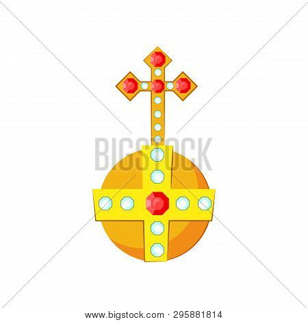 Golden orb with gemstones vector illustration. Symbol of power, monarch, king. Monarchy attributes concept. Vector illustration can be used for topics like history, kingdom, monarchy poster