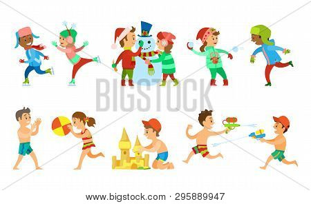 Children Vacations In Summer And Winter Vector, Kids Building Snowman And Sand Castle, Playing Water