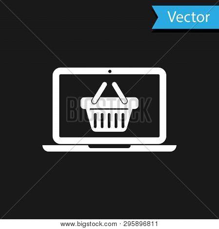 White Shopping Basket On Screen Laptop Icon Isolated On Black Background. Concept E-commerce, E-busi