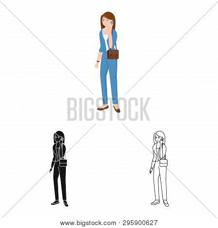 Vector Design Of Woman  And Business Sign. Set Of Woman  And Businessperson Stock Symbol For Web.
