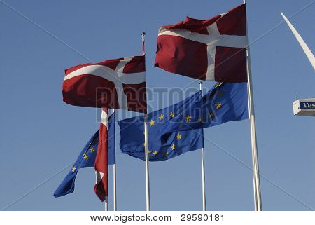 DENMARK / COPENHAGEN _ Danish flag or dannebrogs and European Union flags 2 Febuary 2012