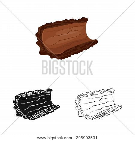 Isolated Object Of Bark  And Piece Logo. Set Of Bark  And Lumber  Vector Icon For Stock.