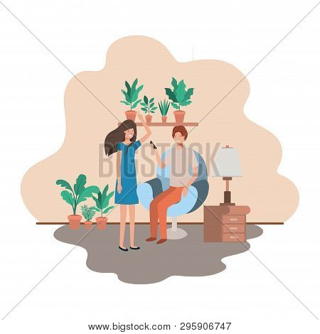 Couple Using Smartphone In The Livingroom Vector Illustration Desing