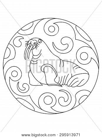 Pattern With A Walrus. Illustration With A Walrusl. Mandala With An Sea Animal.  Walrus In A Circula