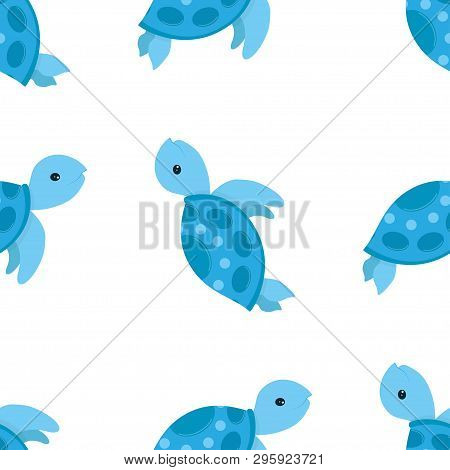 Cute Blue Turtle Smiling Vector Illustration Isolated On White Background, Cartoon Pattern With Sea