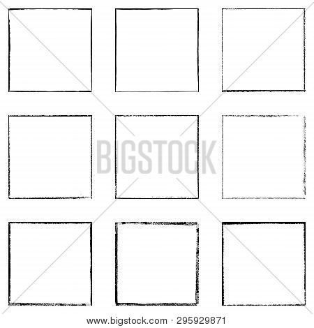 Black Square Shape Distress Overlay Frame Background Set. Abstract Grunge Thin Dirty Backdrop. Used