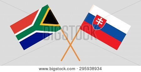 Rsa And Slovakia. The South African And Slovakian Flags. Official Colors. Correct Proportion. Vector