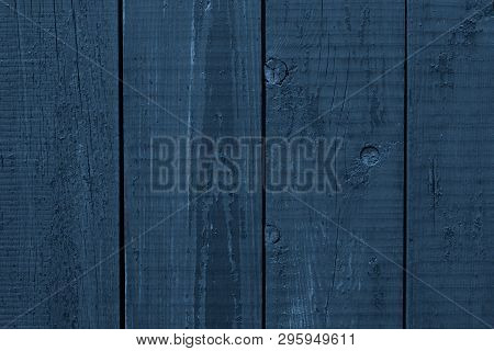 Dark Blue Rough Wooden Surface. Blue Wooden Boards. Wood Plank Texture Background. Dark Blue Wooden