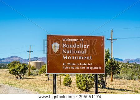 An Entrance Road Going To Bandelier National Monument