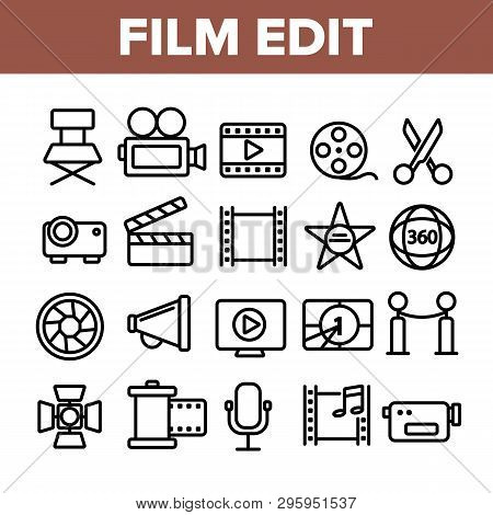 Film Edit, Filmmaking Linear Vector Icons Set. Movie Shooting, Editing Thin Line Symbols Pack. Video