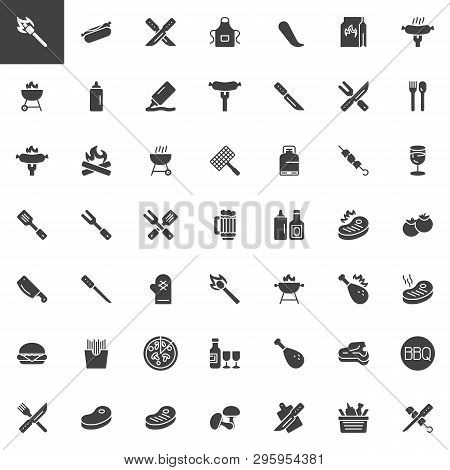 Bbq Party Time Vector Icons Set, Modern Solid Symbol Collection, Filled Style Pictogram Pack. Signs,