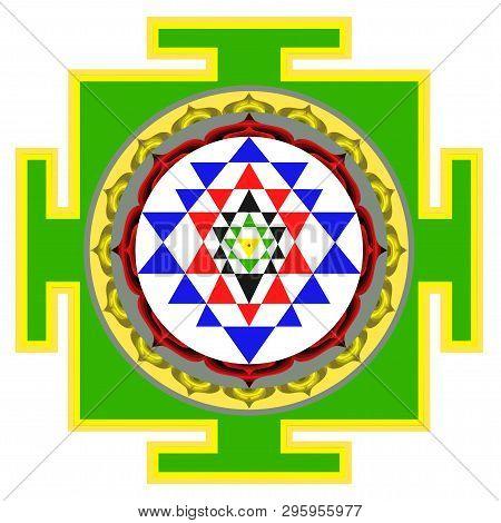 Mandala Sri Yantra Chakra Tantra Spirituality Esoteric Zen Illustration Green