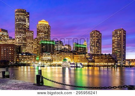 Boston Downtown skylines building cityscape sunset at Boston city, MA, USA.