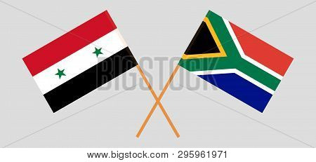 Rsa And Syria. The South African And Syrian Flags. Official Colors. Correct Proportion. Vector Illus
