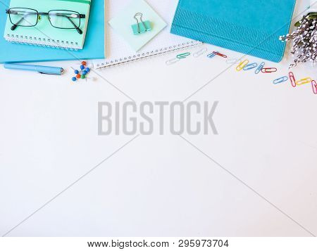 Home Office Workspace Mockup.workspace Top View, Copy Space.white Desk Office With Blank Notebook, C