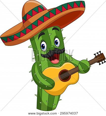 Vector Illustration Of Cartoon Mexican Cactus Playing Guitar