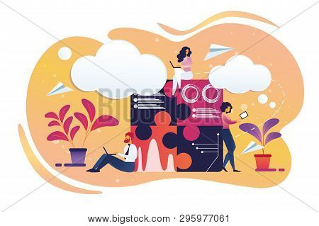 Businesspeople Male And Female Characters Working On Smart Gadgets As Laptop, Tablet, Smartphone. Of