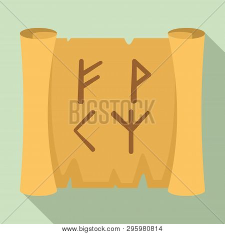 Magic Old Papyrus Icon. Flat Illustration Of Magic Old Papyrus Vector Icon For Web Design