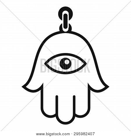 Hamsa Pendant Icon. Simple Illustration Of Hamsa Pendant Vector Icon For Web Design Isolated On Whit