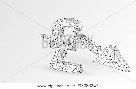 British Pound Currency, Downtrend Arrow Digital Origami 3d Illustration. Polygonal Vector Business C