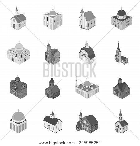 Vector Illustration Of Landmark And Clergy Sign. Collection Of Landmark And Religion Vector Icon For
