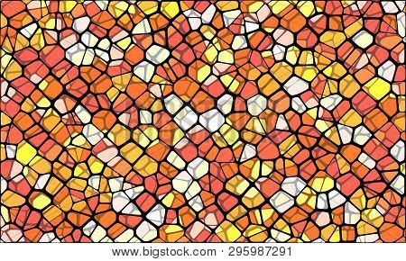 Vector Illustration Of Abstract Vitrage Background. Decorative Stained Glass Pattern For Design Post