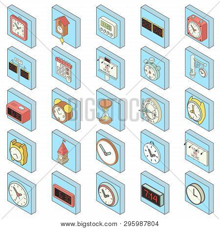 Timepiece Icons Set. Isometric Set Of 25 Timepiece Vector Icons For Web Isolated On White Background