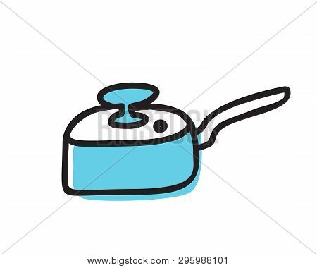 Fry Pan, Skillet Doodle Vector Icon Isolated On White Background