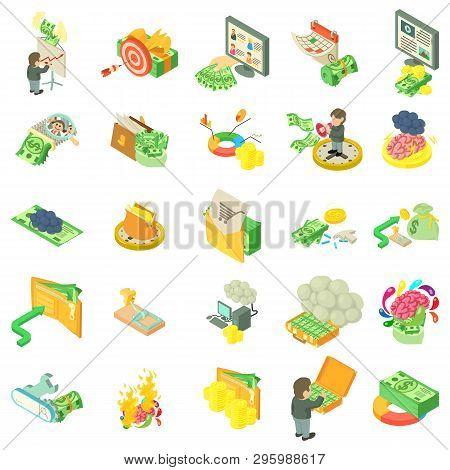 Monetary Thought Icons Set. Isometric Set Of 25 Monetary Thought Vector Icons For Web Isolated On Wh