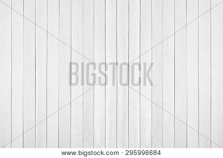 White Wood Floor Texture Background. Plank Pattern Surface Pastel Painted Wall; Gray Board Grain Tab