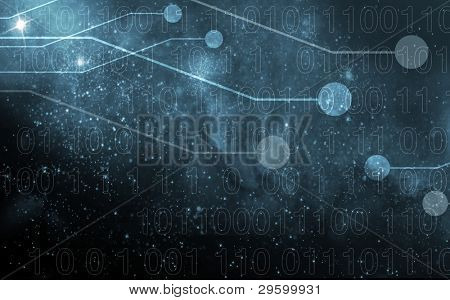 digital world, on the background with integrated bits and bytes
