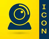 Blue Web camera icon isolated on yellow background. Chat camera. Webcam icon. Vector Illustration poster