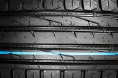 Car tire. Tire stack. Car tyre protector close up. Black rubber tire. Brand new car tires. Close up black tyre profile. poster