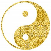 yin yang chinese  illustration feng shui  balance zen silhouette taoism  lucky fortune gold coins poster