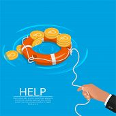 Lifebuoy for the aid to ruble. Business concept. Rescue of economy. Deduction of a course. Isometry.3D. A vector illustration in flat style. poster