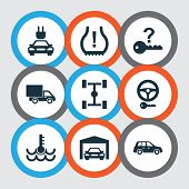 Car icons set with chassis, garage, crossover and other tire pressure low elements. Isolated vector illustration car icons. poster