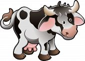 Vector Illustration Of a Cute Dairy Cow poster