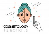 Cosmetic injections. Vector flat illustration with place for text. Mesotherapy, rejuvenation. poster
