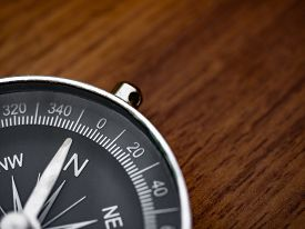 Compass On The Brown Wooden Table Background With Copy Space