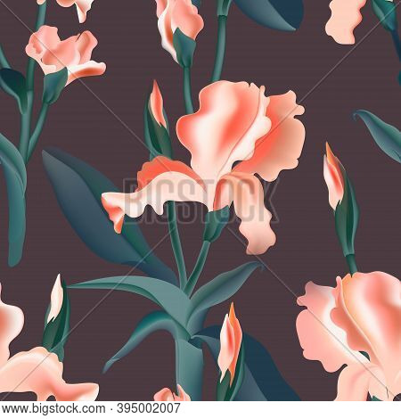 Floral Pattern, Seamless Iris Flower Vector Print, Digital Background. Floral Print Texture, Pink Ab