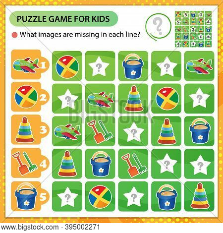 Sudoku Puzzle. What Images Are Missing In Each Line? Toys. Toy Shovel With Bucket, Ball, Pyramid, Pl