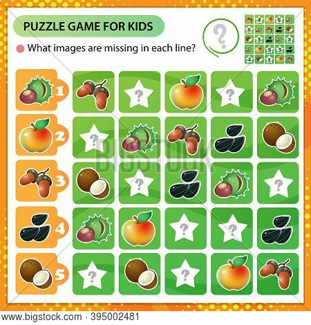 Sudoku Puzzle. What Images Are Missing In Each Line? Fruits Of Trees And Plants. Apple, Rowan, Seeds