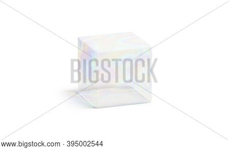 Blank Transparent Soap Cube Bubble Mock Up, Isolated, 3d Rendering. Empty Crystal Liquid Or Sudsy So