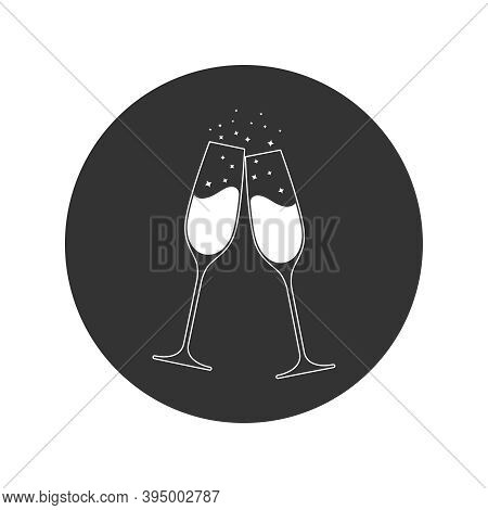 Clink Glasses Champagne Graphic Icon. Cheers With Two Champagne Glasses Sign In The Circle Isolated