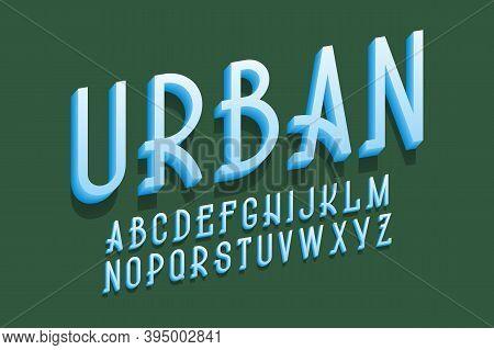 Volumetric Urban Alphabet Of Blue Letters. 3d Display Oblique Font. Isolated English Alphabet.