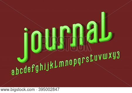 Volumetric Journal Alphabet Of Green Letters. 3d Display Oblique Font. Isolated English Alphabet.